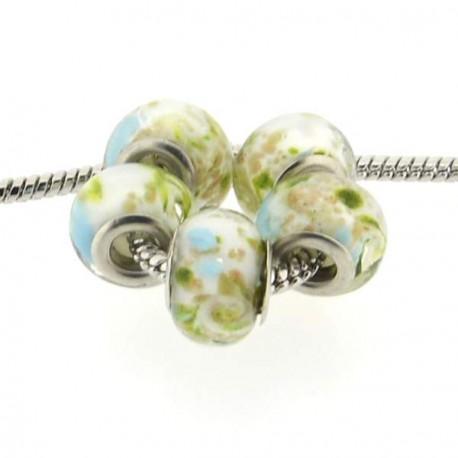 Perle de verre turquoise paillettes dorées style Pandora - à l'unité