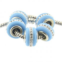 Perle de verre turquoise aux strass style Pandora - à l'unité