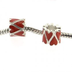 Métal Coeur long émail rouge style Pandora - à l'unité