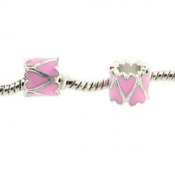 Métal Coeur long émail rose style Pandora - à l'unité