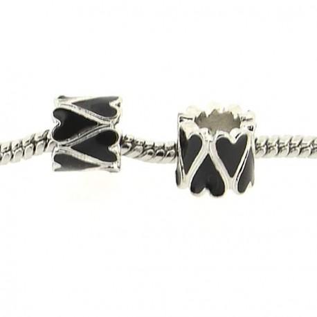 Métal Coeur long émail noir style Pandora - à l'unité