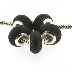 Perle de verre noire pailletée style Pandora - à l'unité