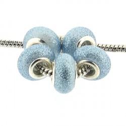 Perle de verre turquoise pailletée style Pandora - à l'unité