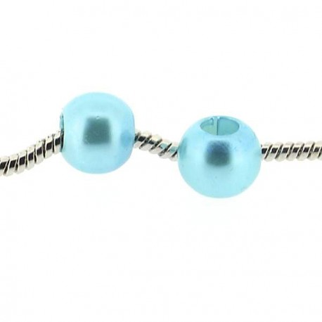 Perle ronde acrylique turquoise 10mm style Pandora - à l'unité