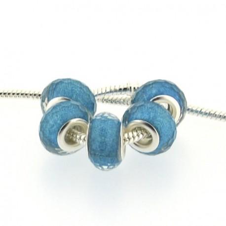 Perle en résine à facettes turquoises brillantes style Pandora - à l'unité