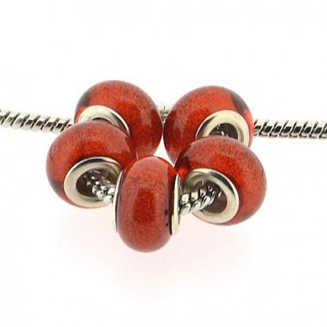 Perle en résine rouges brillantes style Pandora - à l'unité