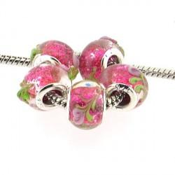 Perle de verre rose en relief style Pandora - à l'unité