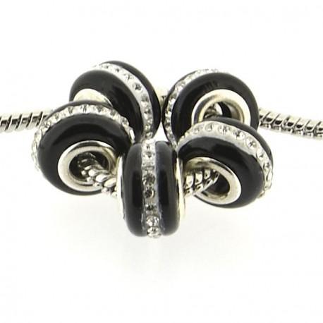 Perle de verre noire aux strass style Pandora - à l'unité