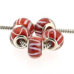 Perle de verre rouge guirlandes blanches style Pandora - à l'unité