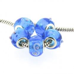 Perle de verre turquoise guirlande blanche style Pandora - à l'unité