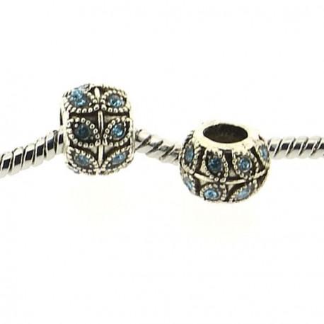 Métal Feuille strass turquoise style Pandora - à l'unité