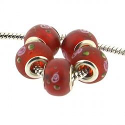 Perle en verre rouge glacé à fleurs style Pandora - à l'unité