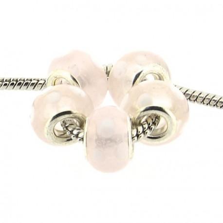 Perle de verre opaque rose à pois blancs style Pandora - à l'unité