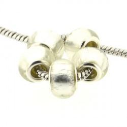 Perle de verre feuille d'argent blanche style Pandora - à l'unité