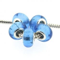 Perle de verre feuille d'argent turquoise style Pandora - à l'unité