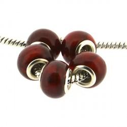 Perle de verre feuille d'argent rouge style Pandora - à l'unité