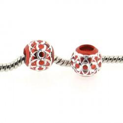 Perle ronde aluminium rouge style Pandora - à l'unité