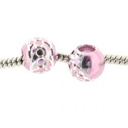 Perle ronde aluminium rose style Pandora - à l'unité