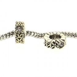 Métal anneau Alliance strass blanc style Pandora - à l'unité