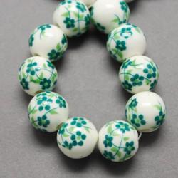 Perle de verre porcelaine verte foncée, 10 mm