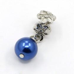 Métal Perle bleu foncé style Pandora - à l'unité
