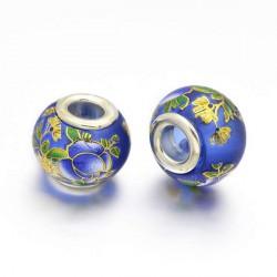 Perle de verre bleue chinoise fleurs peintes style Pandora - à l'unité