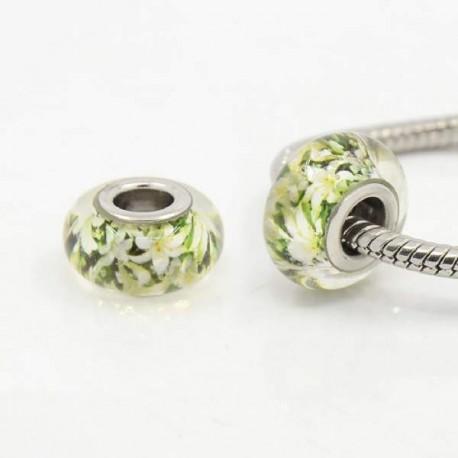 Perle de verre Fleurs de Lys style Pandora - à l'unité