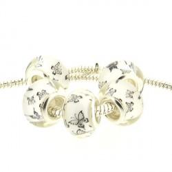 Perle en résine blanche petits papillons noirs style Pandora - à l'unité