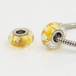 Perle de verre Feuilles d'automne style Pandora - à l'unité