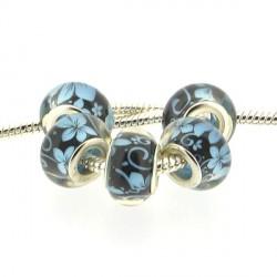 Perle en résine noire fleurs turquoises style Pandora - à l'unité