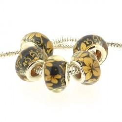 Perle en résine noire fleurs ocres style Pandora - à l'unité