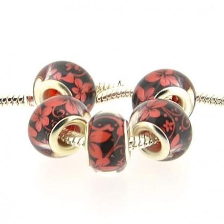 Perle en résine noire fleurs rouges style Pandora - à l'unité
