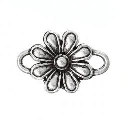 Entre-deux breloque Fleur 8 pétales, argenté