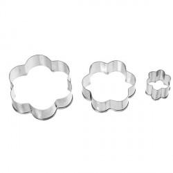 3 emporte-pièces Grandes Fleurs métalliques pour pate polymère
