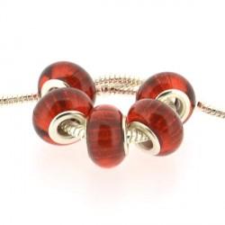 Perle en résine rouge bandes scintillantes style Pandora - à l'unité