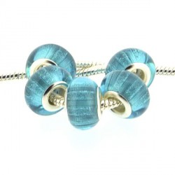 Perle en résine bleu turquoise bandes scintillantes style Pandora - à l'unité