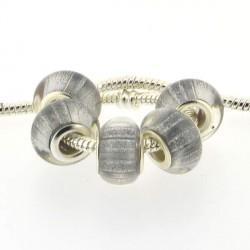 Perle en résine grises bandes scintillantes style Pandora - à l'unité