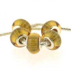 Perle en résine jaune doré bandes scintillantes style Pandora - à l'unité