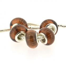 Perle en résine marron orangé bandes scintillantes style Pandora - à l'unité