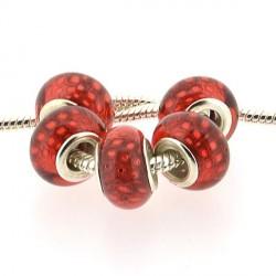 Perle en résine rouge Plumes de paon style Pandora - à l'unité