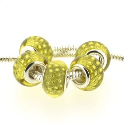 Perle en résine jaune Plumes de paon style Pandora - à l'unité