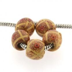 Perle en bois Africaine marron clair style Pandora - à l'unité