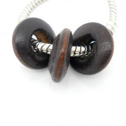 Perle en bois Rondelle marron style Pandora - à l'unité
