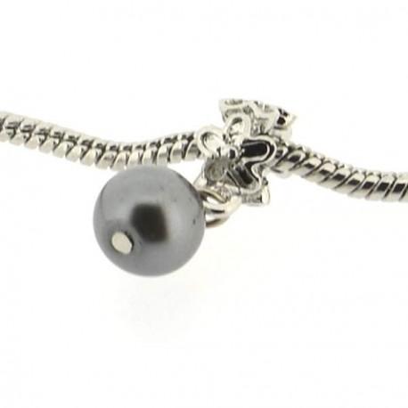Métal Perle grise style Pandora - à l'unité