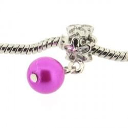 Métal Perle rose fuchsia style Pandora - à l'unité