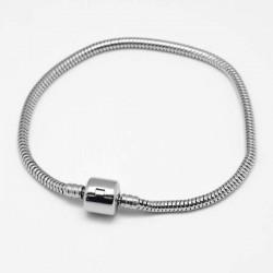 Bracelet clip inoxydable style Pandora 20 cm argenté