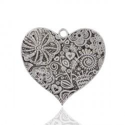 Pendentif breloque en métal Coeur imprimé Fleurs