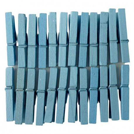 Mini Pinces àlinge bleues 3 cm, 24 pièces