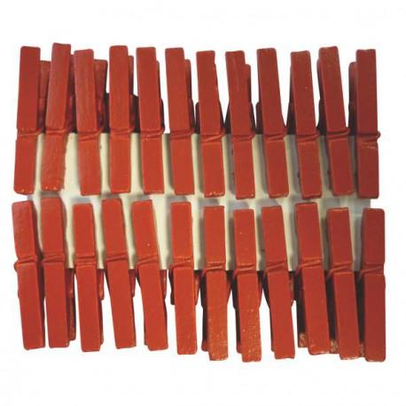 Mini Pinces àlinge rouge foncé 3 cm, 24 pièces