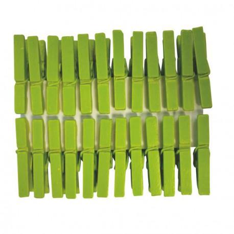 Mini Pinces àlinge vert 3 cm, 24 pièces